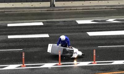 pizzero desafía al tifón