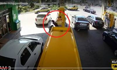 vídeo accidente moto gasolinera